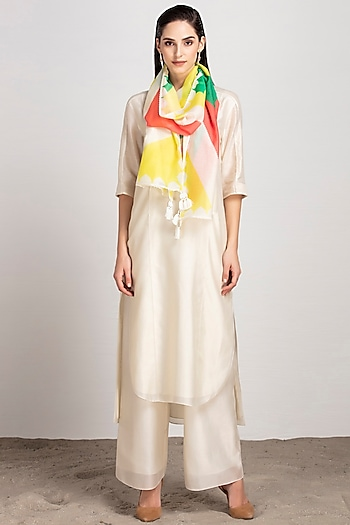 Ivory Printed Scarf by AM:PM