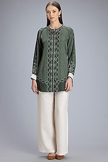 Olive Green Printed Shirt by AM:PM