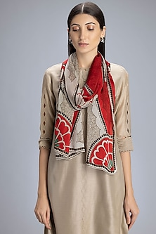 Beige Floral Printed Scarf by AM:PM