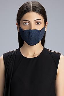 Blue Printed Denim Mask by AM:PM