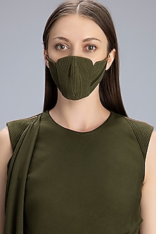 Olive Green Printed Chanderi Mask by AM:PM