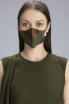 Olive Green & Tan Printed Mask by AM:PM