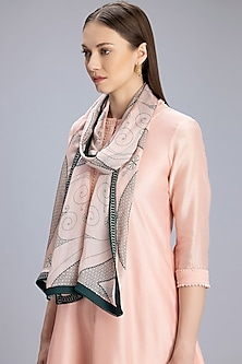 Baby Pink Printed Scarf by AM:PM