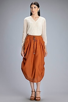 Tan Gathered Midi Skirt by AM:PM