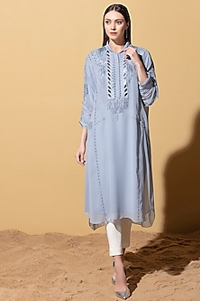 Stone Blue Embellished Tunic With Dhoti by AM:PM