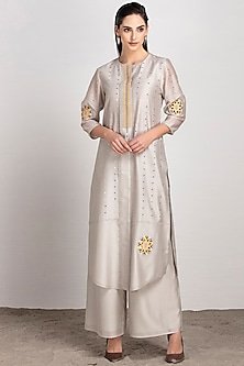 Light Grey Embroidered Tunic With Palazzo Pants by AM:PM