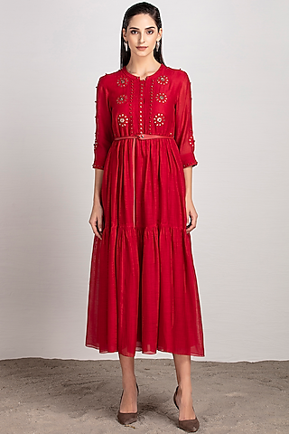 Red Embroidered Tiered Dress With Belt by AMPM
