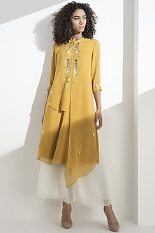 Mustard Embroidered Georgette Kurta by AM:PM