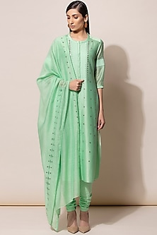 Neon Green Embroidered Kurta Set by AM:PM-SHOP BY STYLE