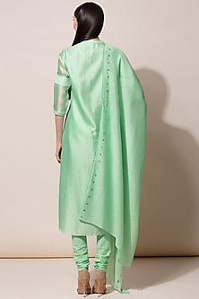 Neon Green Embroidered Kurta Set by AM:PM