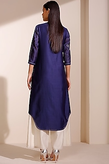 Navy Blue Printed Kurta With Collar by AM:PM