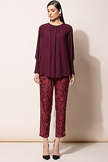 Burgundy Shirt With Printed Pants by AM:PM