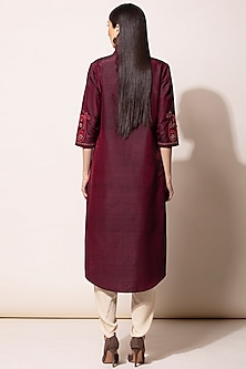 Burgundy Embroidered Tunic With Dhoti Pants by AM:PM