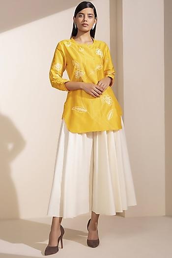 Mustard Pure Silk Tunic by AM:PM