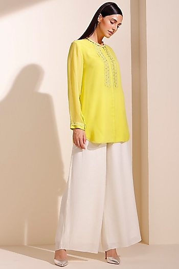 Lime Green Embroidered Shirt by AM:PM