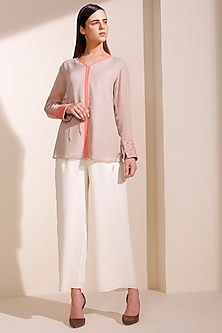 Taupe Georgette Shirt by AM:PM