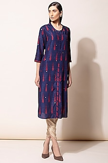 Navy Blue Embroidered Kurta Set by AM:PM