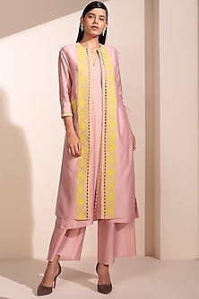 Light Pink Embroidered Jacket Set by AM:PM