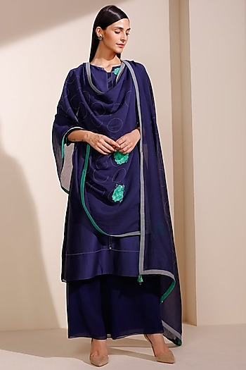 Indigo Blue Embroidered & Printed Kurta Set by AM:PM