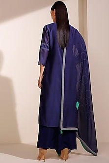 Indigo Blue Embroidered & Printed Kurta Set by AM:PM