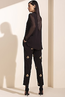 Black Embroidered Shirt With Pants by AM:PM