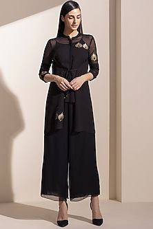 Black Embroidery Jacket With Inner by AM:PM