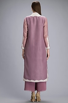 Dusty Lilac Embroidered Jacket Set by AM:PM