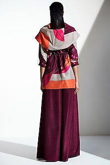 Burgundy Jacket With Belt by AM:PM