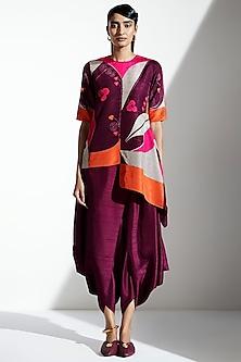 Burgundy Silk Dhoti Pants by AMPM