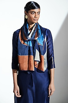 Navy Blue Printed Scarf by AM:PM