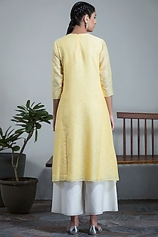 Yellow Round Chanderi Tunic by AM:PM