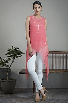 Pink Sleeveless Georgette Top by AM:PM