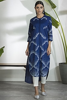 Navy Blue Lawn Cotton Tunic by AM:PM