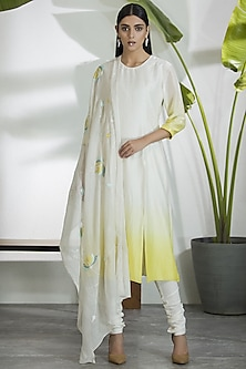 Ivory & Yellow Kurta Set by AM:PM