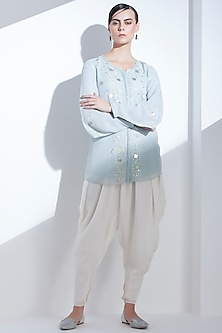 Grey Full Georgette Shirt by AM:PM