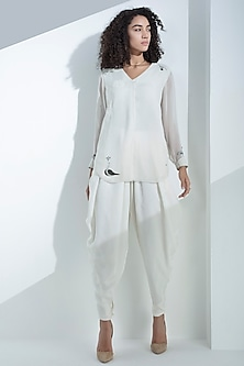 Ivory Georgette Shirt by AM:PM