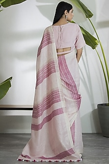 Pink & Ivory Saree Set by AM:PM