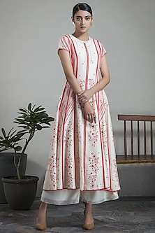 Ivory & Red Anarkali Jacket by AM:PM