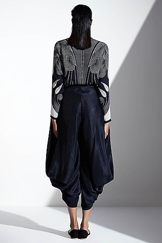 Black Silk Dhoti Pants  by AMPM