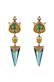 Oxidised Gold Plated Aqua Stone Earrings With Swarovski Crystals by Amrapali X Confluence-JEWELLERY ON DISCOUNT