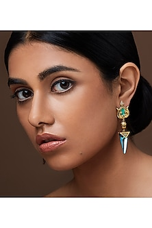 Oxidised Gold Plated Aqua Stone Earrings With Swarovski Crystals by Amrapali X Confluence