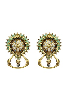 Oxidised Gold Plated Magnifique Earrings With Swarovski Crystals by Amrapali X Confluence
