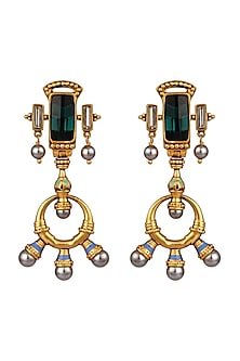 Oxidised Gold Plated Fresco Earrings With Swarovski Crystals by Amrapali X Confluence