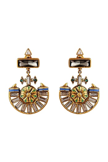 Oxidised Gold Plated Ornate Earrings With Swarovski Crystals by Amrapali X Confluence