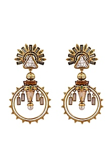Oxidised Gold Plated Palace Earrings With Swarovski Crystals by Amrapali X Confluence-SHOP BY STYLE