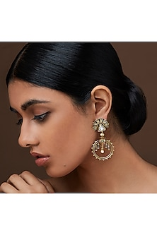 Oxidised Gold Plated Palace Earrings With Swarovski Crystals by Amrapali X Confluence