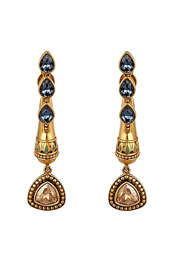 Oxidised Gold Plated Droplet Earrings With Swarovski Crystals by Amrapali X Confluence