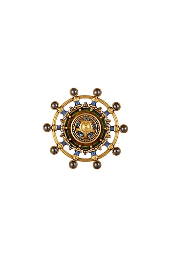 Oxidised Gold Plated Emblem Ring With Swarovski Crystals by Amrapali X Confluence