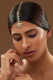 Oxidised Gold Plated Floral Maang Tikka With Swarovski Crystals by Amrapali X Confluence