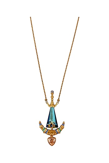 Oxidised Gold Plated Aqua Stone Pendant With Swarovski Crystals by Amrapali X Confluence